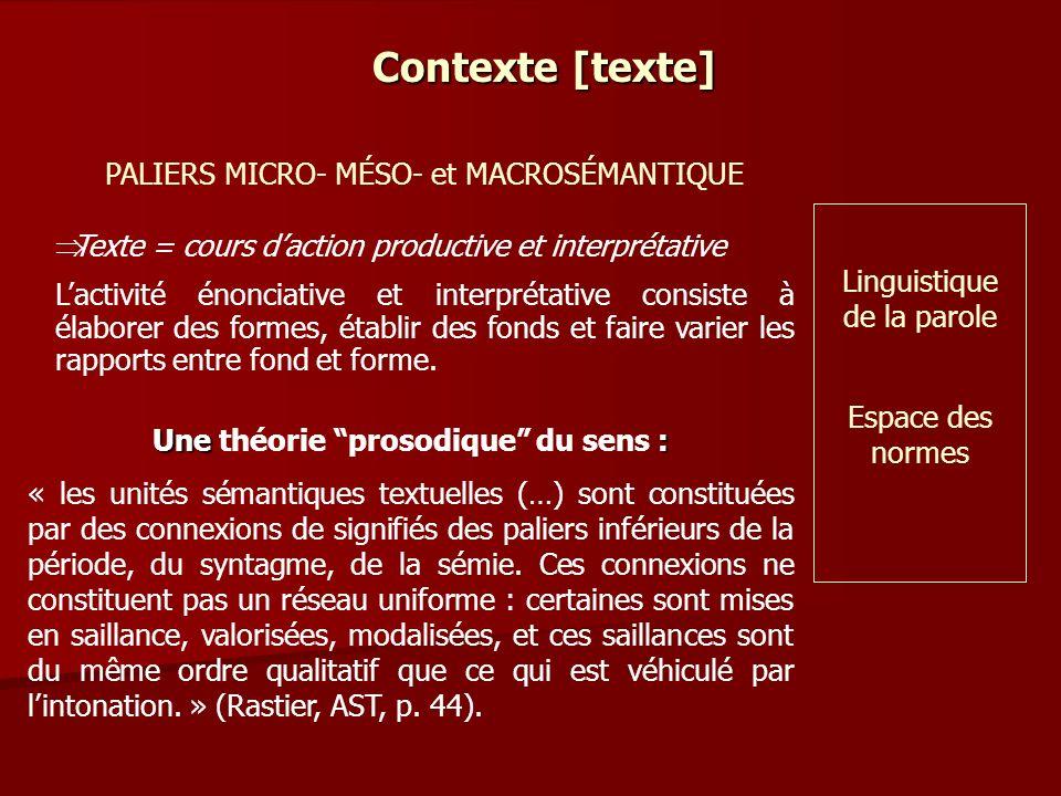 Contexte [texte] Texte = cours daction productive et interprétative Lactivité énonciative et interprétative consiste à élaborer des formes, établir des fonds et faire varier les rapports entre fond et forme.