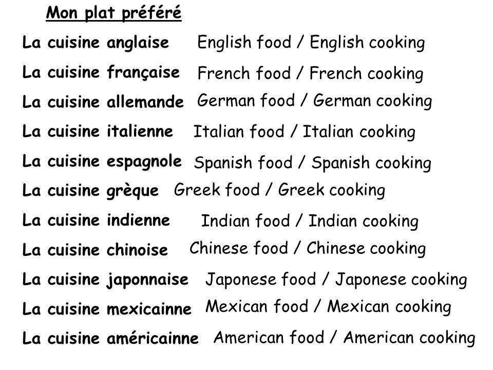 Mon plat préféré La cuisine anglaise La cuisine française La cuisine allemande La cuisine italienne La cuisine espagnole La cuisine grèque La cuisine