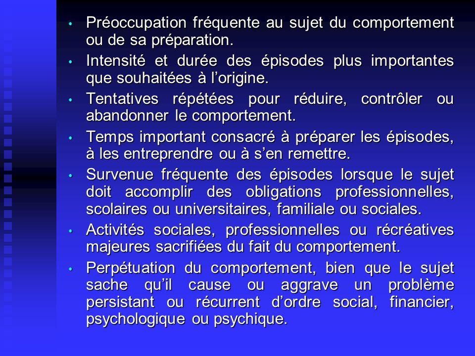Préoccupation fréquente au sujet du comportement ou de sa préparation. Préoccupation fréquente au sujet du comportement ou de sa préparation. Intensit