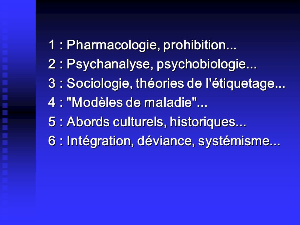 1 : Pharmacologie, prohibition... 2 : Psychanalyse, psychobiologie... 3 : Sociologie, théories de l'étiquetage... 4 :