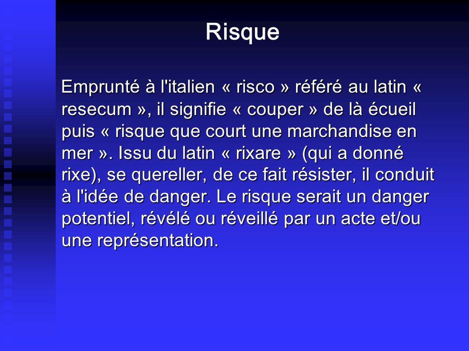 Risque Emprunté à l'italien « risco » référé au latin « resecum », il signifie « couper » de là écueil puis « risque que court une marchandise en mer