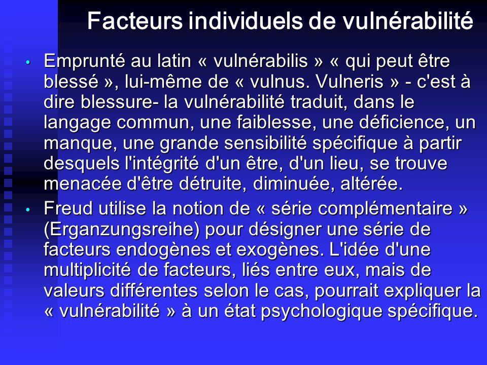 Facteurs individuels de vulnérabilité Emprunté au latin « vulnérabilis » « qui peut être blessé », lui-même de « vulnus. Vulneris » c'est à dire bless