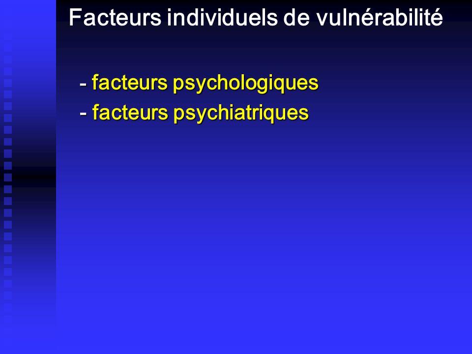 Facteurs individuels de vulnérabilité - facteurs psychologiques - facteurs psychiatriques