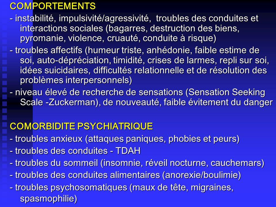COMPORTEMENTS - instabilité, impulsivité/agressivité, troubles des conduites et interactions sociales (bagarres, destruction des biens, pyromanie, vio