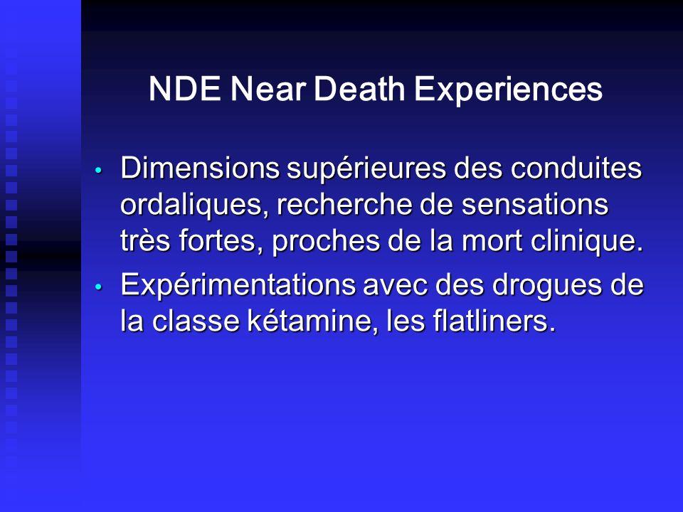 NDE Near Death Experiences Dimensions supérieures des conduites ordaliques, recherche de sensations très fortes, proches de la mort clinique. Dimensio
