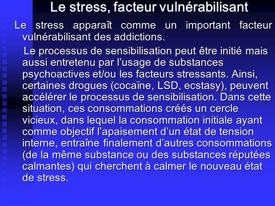 Le stress, facteur vulnérabilisant Le stress apparaît comme un important facteur vulnérabilisant des addictions. Le stress apparaît comme un important