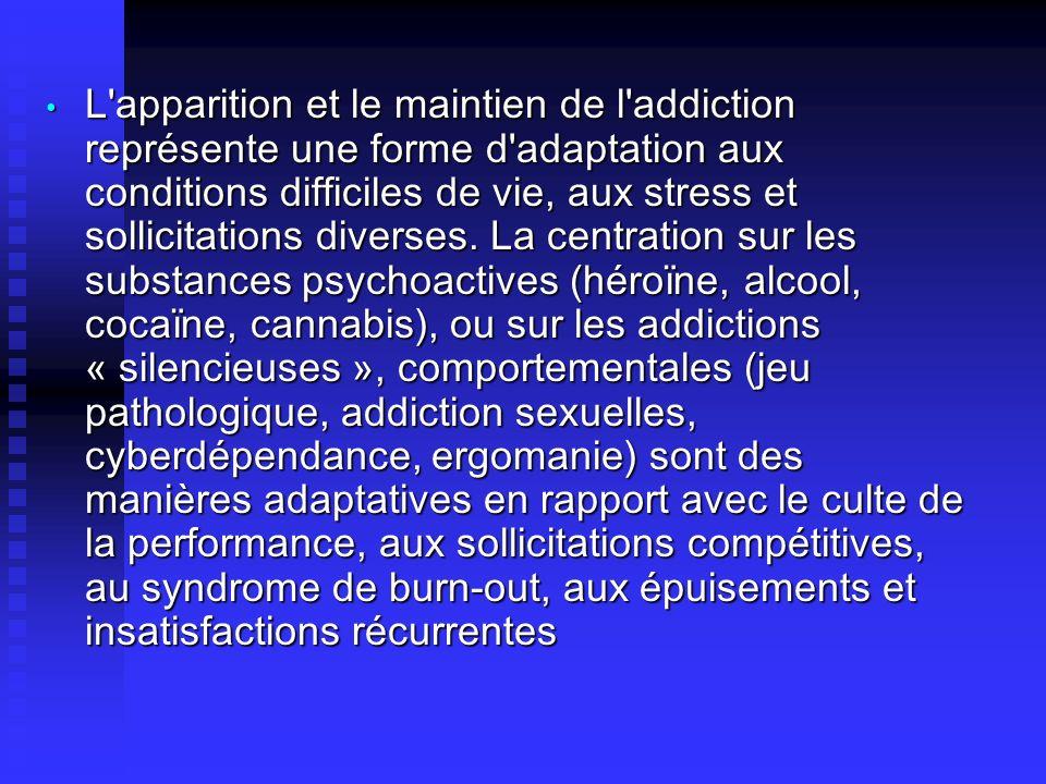 L'apparition et le maintien de l'addiction représente une forme d'adaptation aux conditions difficiles de vie, aux stress et sollicitations diverses.