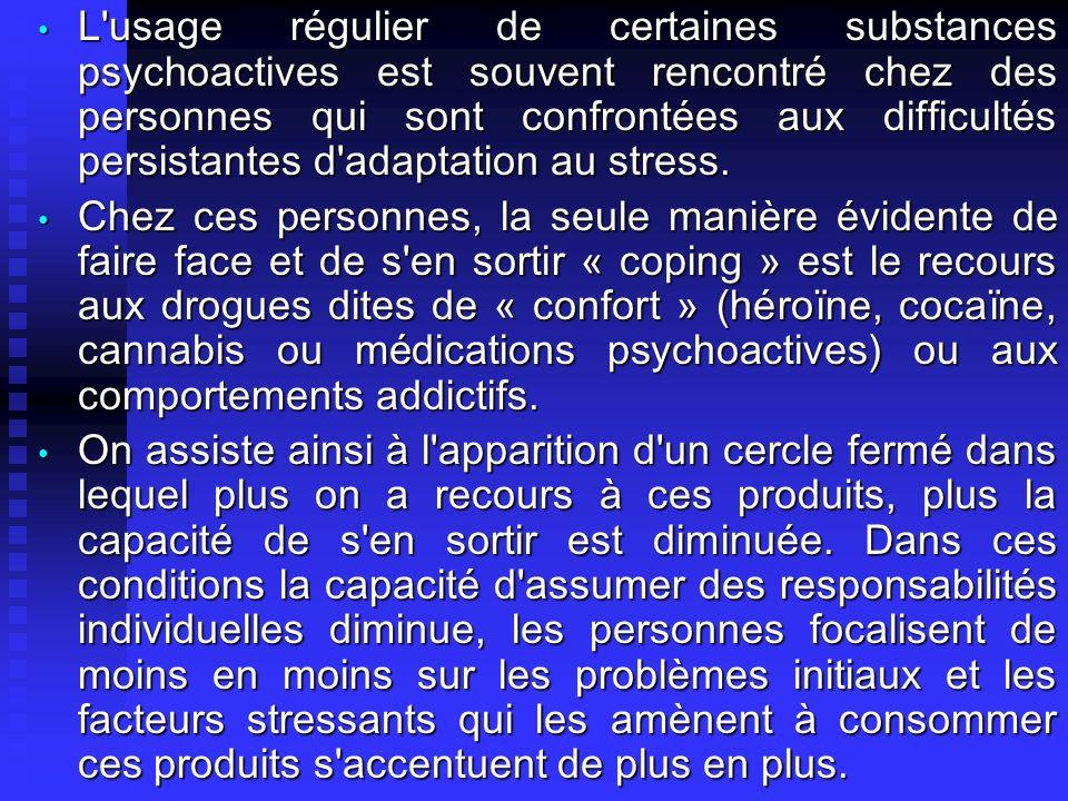 L usage régulier de certaines substances psychoactives est souvent rencontré chez des personnes qui sont confrontées aux difficultés persistantes d adaptation au stress.