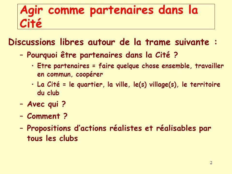 2 Agir comme partenaires dans la Cité Discussions libres autour de la trame suivante : –Pourquoi être partenaires dans la Cité ? Etre partenaires = fa