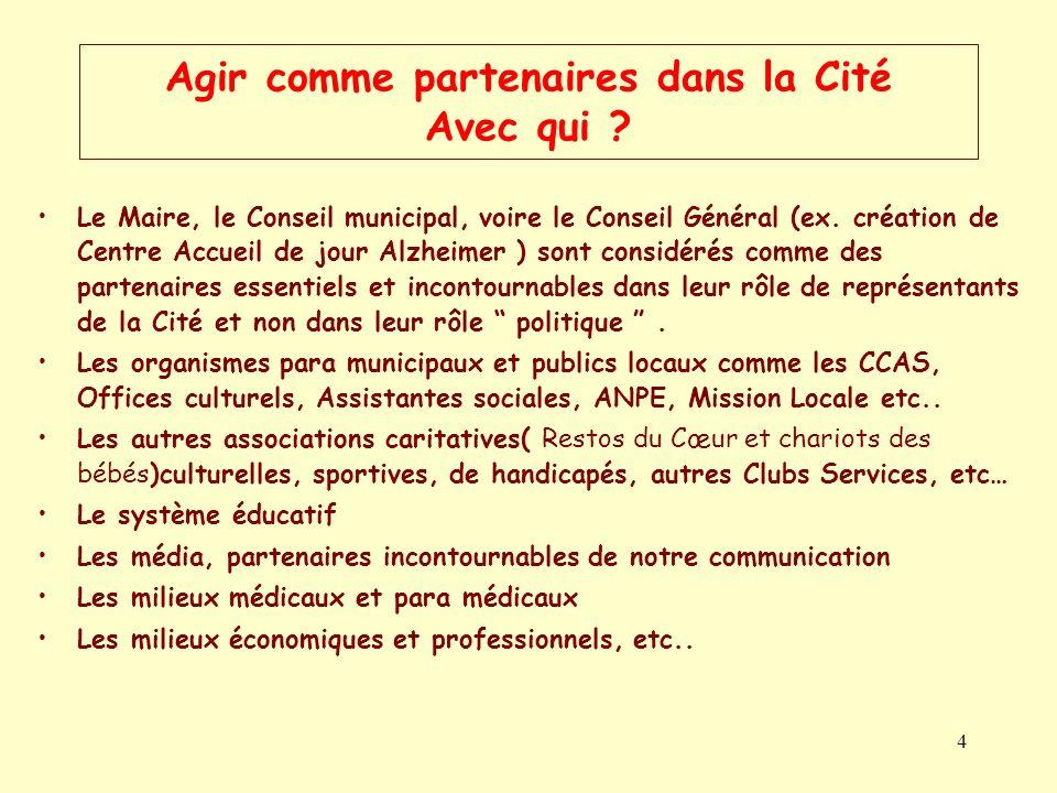 4 Agir comme partenaires dans la Cité Avec qui ? Le Maire, le Conseil municipal, voire le Conseil Général (ex. création de Centre Accueil de jour Alzh