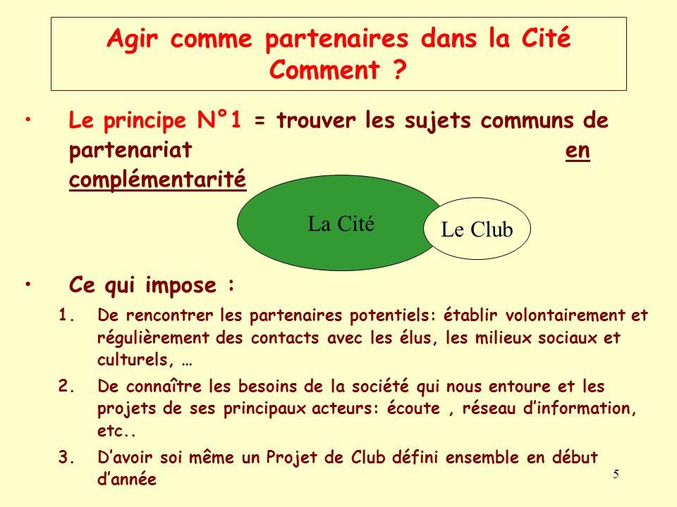 5 Agir comme partenaires dans la Cité Comment ? Le principe N°1 = trouver les sujets communs de partenariat en complémentarité Ce qui impose : 1.De re