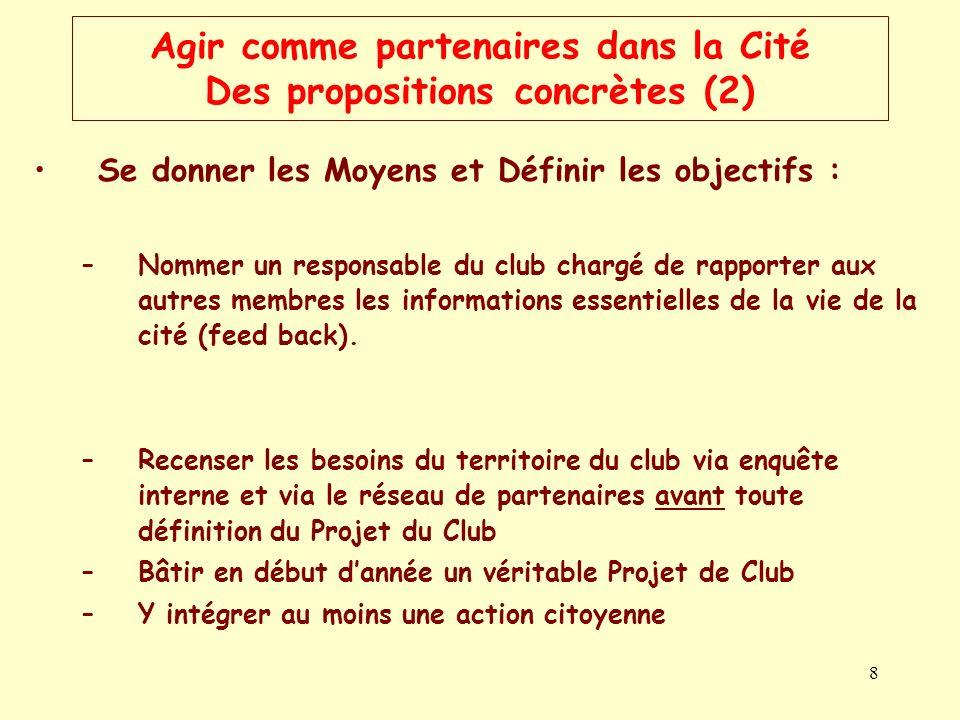 8 Agir comme partenaires dans la Cité Des propositions concrètes (2) Se donner les Moyens et Définir les objectifs : –Nommer un responsable du club ch