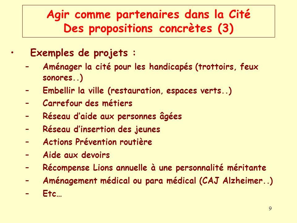 9 Agir comme partenaires dans la Cité Des propositions concrètes (3) Exemples de projets : –Aménager la cité pour les handicapés (trottoirs, feux sono