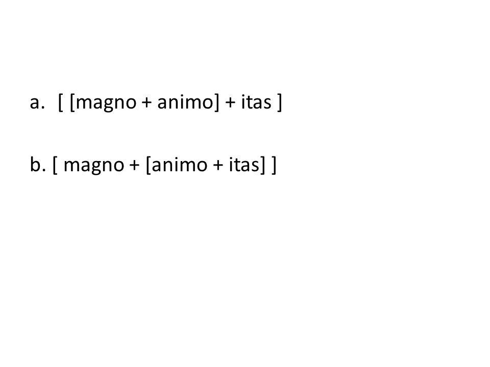 a.[ [magno + animo] + itas ] b. [ magno + [animo + itas] ]