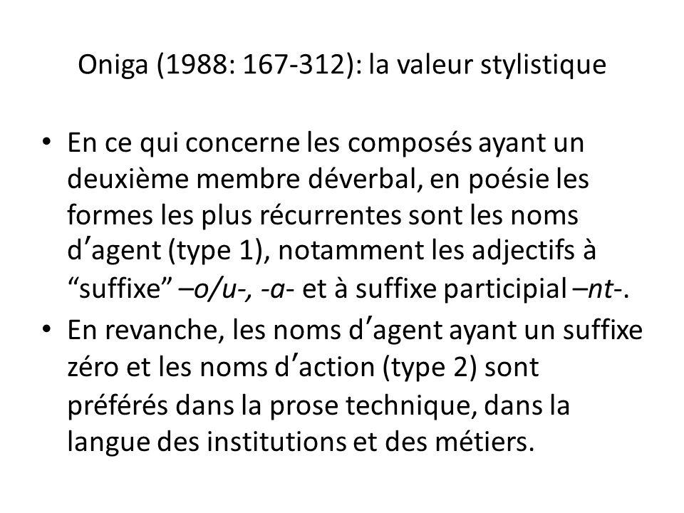 Oniga (1988: 167-312): la valeur stylistique En ce qui concerne les composés ayant un deuxième membre déverbal, en poésie les formes les plus récurrentes sont les noms dagent (type 1), notamment les adjectifs à suffixe –o/u-, -a- et à suffixe participial –nt-.