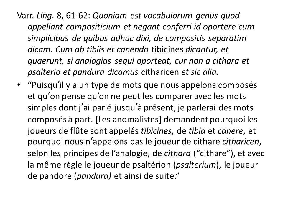 Oniga (1988: 1-176): typologie des composés catégorie lexicale du premier et du deuxième membres ; rapport syntaxique entre les deux membres ; présence éventuelle de suffixes ; valeur sémantique de lensemble du composé.
