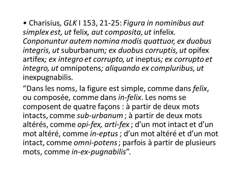 Charisius, GLK I 153, 21-25: Figura in nominibus aut simplex est, ut felix, aut composita, ut infelix.