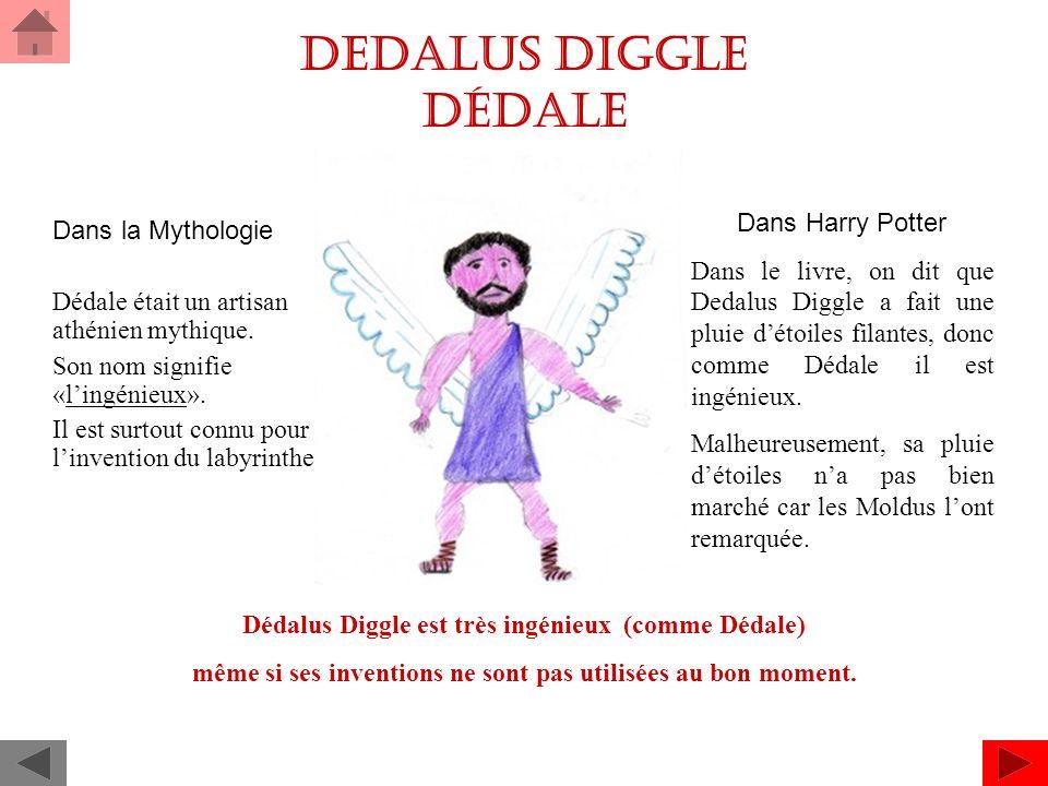 Dedalus Diggle Dédale Dans Harry Potter Dans le livre, on dit que Dedalus Diggle a fait une pluie détoiles filantes, donc comme Dédale il est ingénieux.