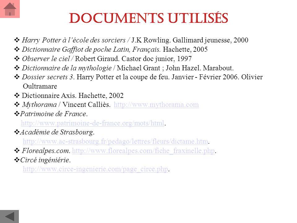 Documents utilisés Harry Potter à lécole des sorciers / J.K Rowling.