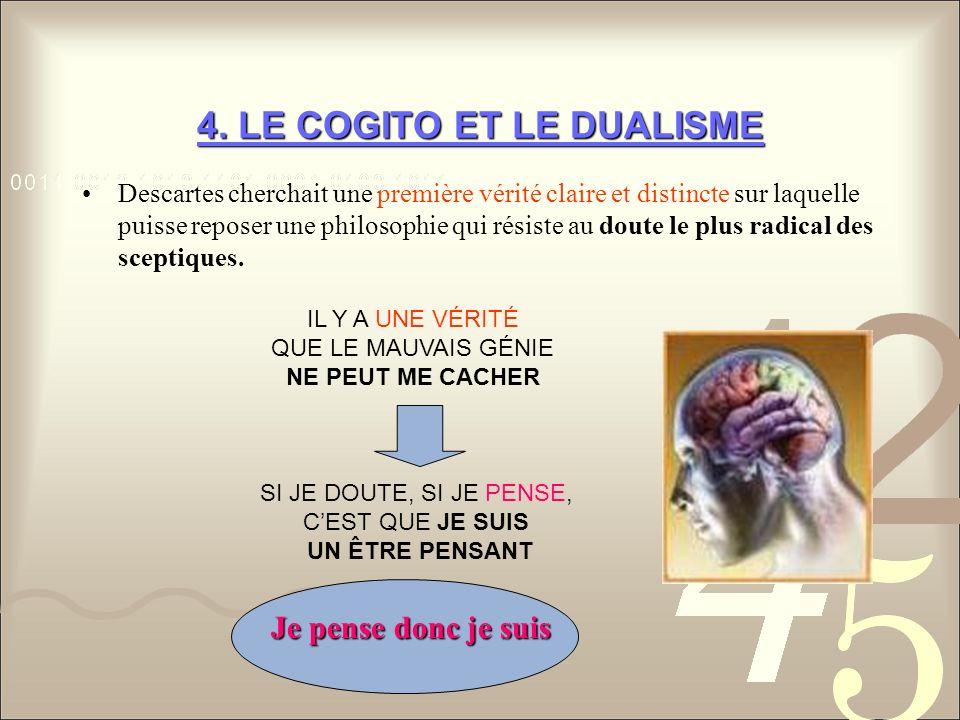 4. LE COGITO ET LE DUALISME Descartes cherchait une première vérité claire et distincte sur laquelle puisse reposer une philosophie qui résiste au dou