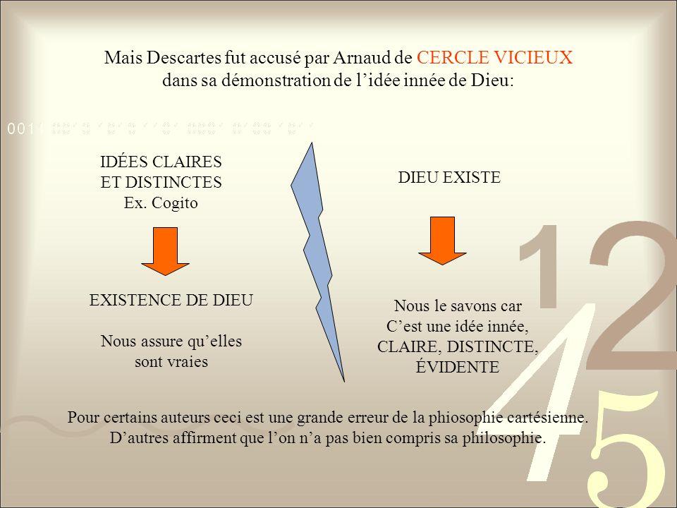 Mais Descartes fut accusé par Arnaud de CERCLE VICIEUX dans sa démonstration de lidée innée de Dieu: IDÉES CLAIRES ET DISTINCTES Ex. Cogito EXISTENCE