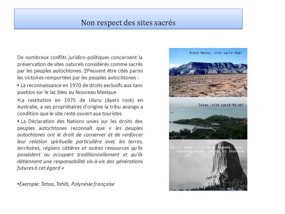 Non respect des sites sacrés De nombreux conflits juridico-politiques concernent la préservation de sites naturels considérés comme sacrés par les peu