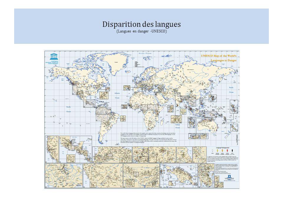 Disparition des langues (Langues en danger -UNESCO)