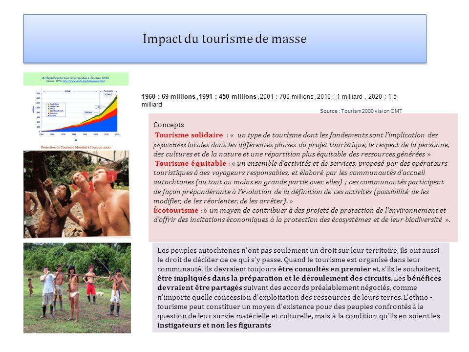 Impact du tourisme de masse Concepts Tourisme solidaire : « un type de tourisme dont les fondements sont limplication des populations locales dans les