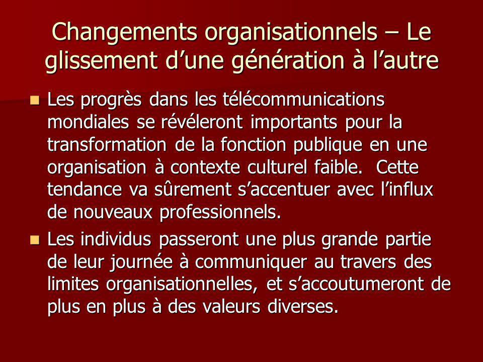 Changements organisationnels – Le glissement dune génération à lautre Les progrès dans les télécommunications mondiales se révéleront importants pour la transformation de la fonction publique en une organisation à contexte culturel faible.