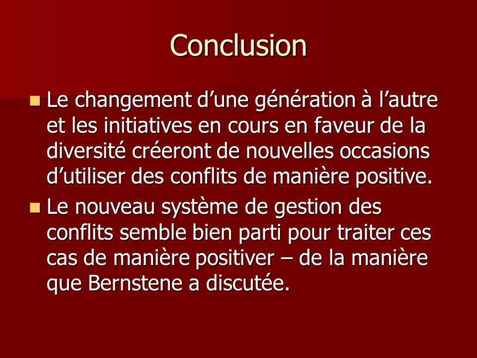 Conclusion Le changement dune génération à lautre et les initiatives en cours en faveur de la diversité créeront de nouvelles occasions dutiliser des conflits de manière positive.