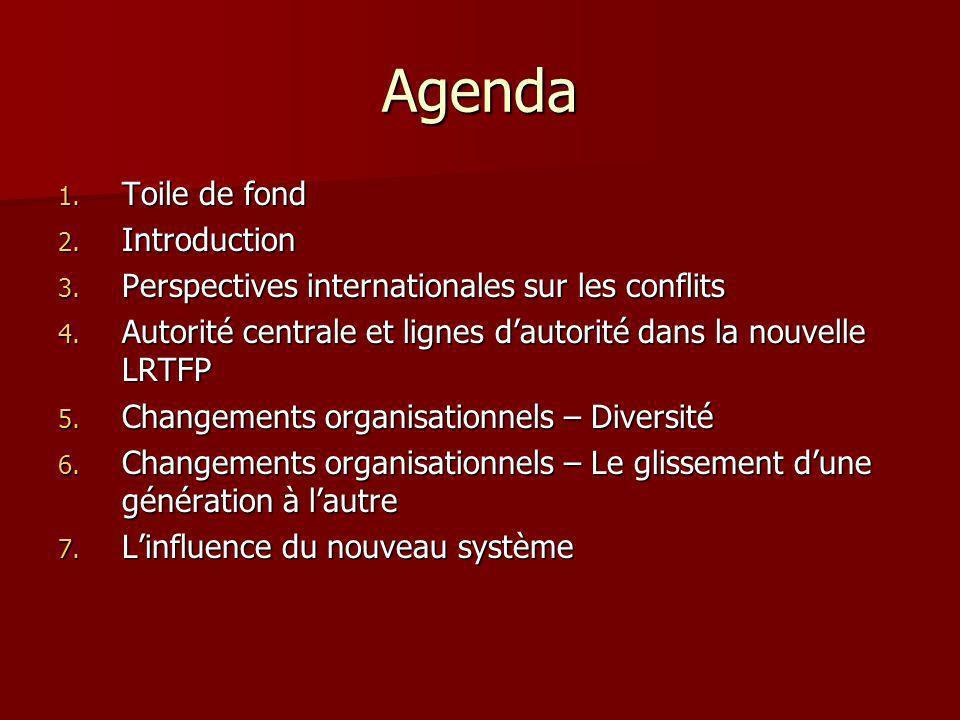 Agenda 1. Toile de fond 2. Introduction 3. Perspectives internationales sur les conflits 4. Autorité centrale et lignes dautorité dans la nouvelle LRT
