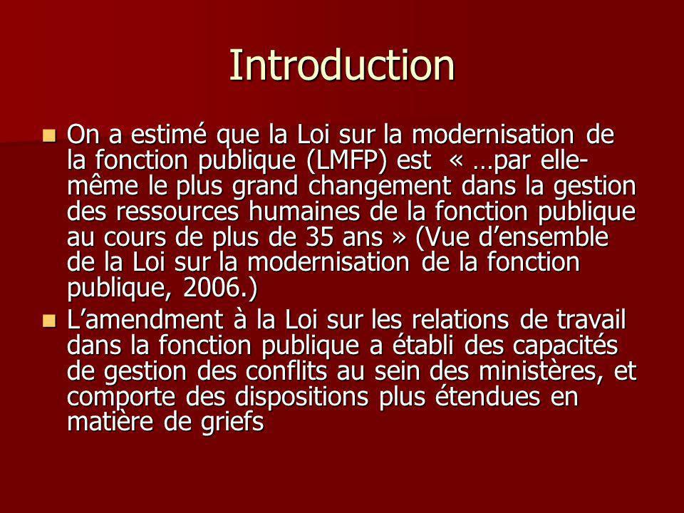 Introduction On a estimé que la Loi sur la modernisation de la fonction publique (LMFP) est « …par elle- même le plus grand changement dans la gestion des ressources humaines de la fonction publique au cours de plus de 35 ans » (Vue densemble de la Loi sur la modernisation de la fonction publique, 2006.) On a estimé que la Loi sur la modernisation de la fonction publique (LMFP) est « …par elle- même le plus grand changement dans la gestion des ressources humaines de la fonction publique au cours de plus de 35 ans » (Vue densemble de la Loi sur la modernisation de la fonction publique, 2006.) Lamendment à la Loi sur les relations de travail dans la fonction publique a établi des capacités de gestion des conflits au sein des ministères, et comporte des dispositions plus étendues en matière de griefs Lamendment à la Loi sur les relations de travail dans la fonction publique a établi des capacités de gestion des conflits au sein des ministères, et comporte des dispositions plus étendues en matière de griefs