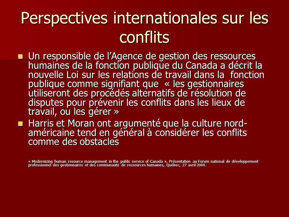 Perspectives internationales sur les conflits Un responsible de lAgence de gestion des ressources humaines de la fonction publique du Canada a décrit