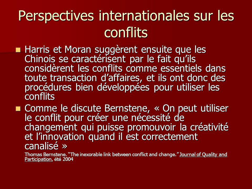 Perspectives internationales sur les conflits Harris et Moran suggèrent ensuite que les Chinois se caractérisent par le fait quils considèrent les conflits comme essentiels dans toute transaction daffaires, et ils ont donc des procédures bien développées pour utiliser les conflits Harris et Moran suggèrent ensuite que les Chinois se caractérisent par le fait quils considèrent les conflits comme essentiels dans toute transaction daffaires, et ils ont donc des procédures bien développées pour utiliser les conflits Comme le discute Bernstene, « On peut utiliser le conflit pour créer une nécessité de changement qui puisse promouvoir la créativité et linnovation quand il est correctement canalisé » Comme le discute Bernstene, « On peut utiliser le conflit pour créer une nécessité de changement qui puisse promouvoir la créativité et linnovation quand il est correctement canalisé » Thomas Bernstene.