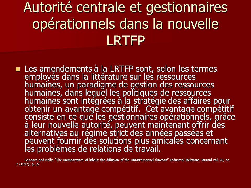 Autorité centrale et gestionnaires opérationnels dans la nouvelle LRTFP Les amendements à la LRTFP sont, selon les termes employés dans la littérature sur les ressources humaines, un paradigme de gestion des ressources humaines, dans lequel les politiques de ressources humaines sont intégrées à la stratégie des affaires pour obtenir un avantage compétitif.