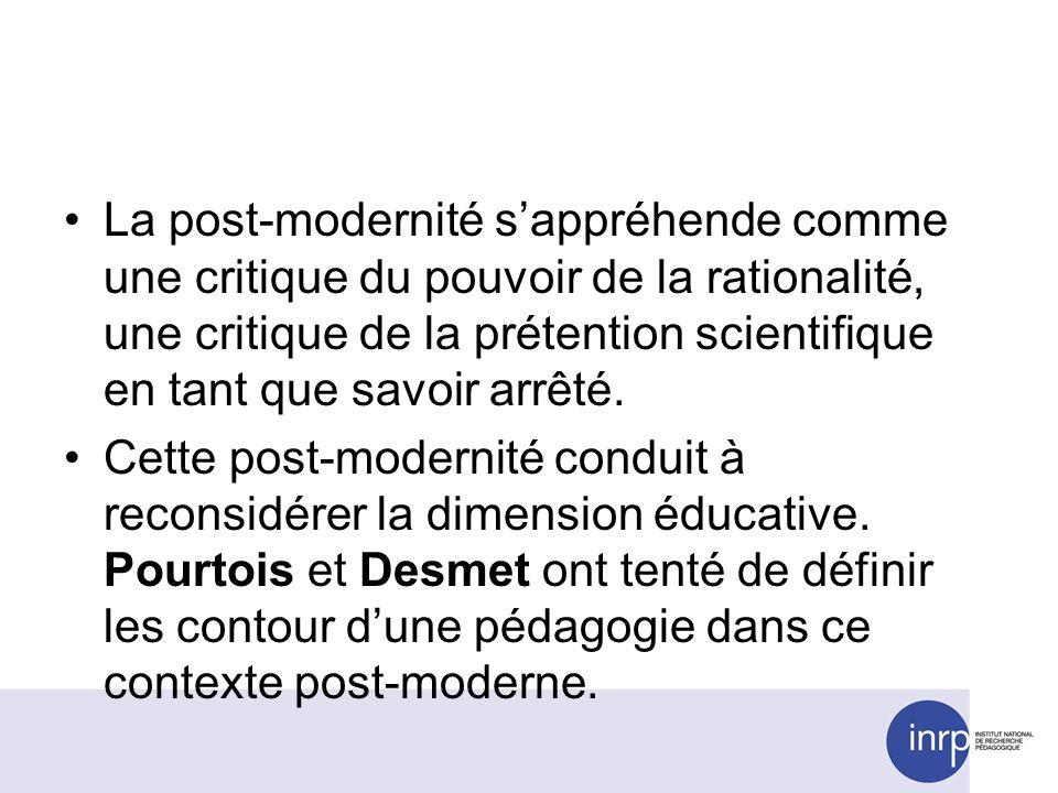 La post-modernité sappréhende comme une critique du pouvoir de la rationalité, une critique de la prétention scientifique en tant que savoir arrêté. C