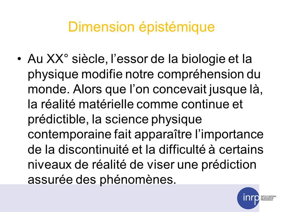 Dimension épistémique Au XX° siècle, lessor de la biologie et la physique modifie notre compréhension du monde. Alors que lon concevait jusque là, la
