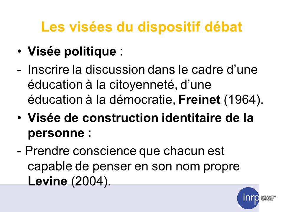 Les visées du dispositif débat Visée politique : -Inscrire la discussion dans le cadre dune éducation à la citoyenneté, dune éducation à la démocratie, Freinet (1964).