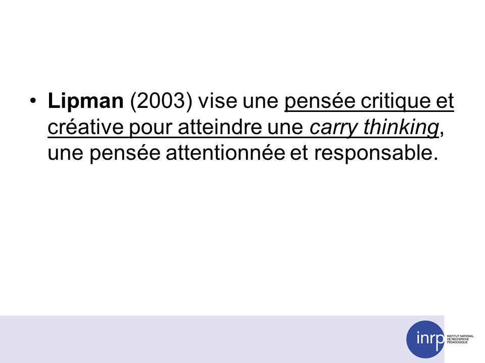 Lipman (2003) vise une pensée critique et créative pour atteindre une carry thinking, une pensée attentionnée et responsable.
