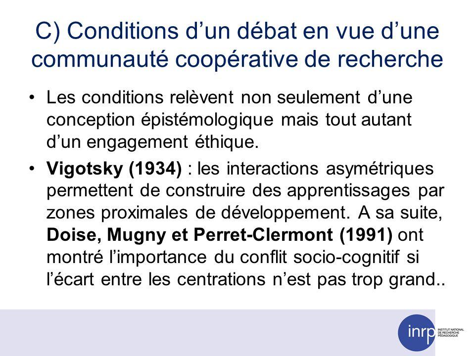 C) Conditions dun débat en vue dune communauté coopérative de recherche Les conditions relèvent non seulement dune conception épistémologique mais tout autant dun engagement éthique.