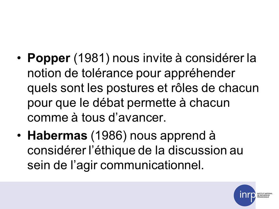 Popper (1981) nous invite à considérer la notion de tolérance pour appréhender quels sont les postures et rôles de chacun pour que le débat permette à chacun comme à tous davancer.