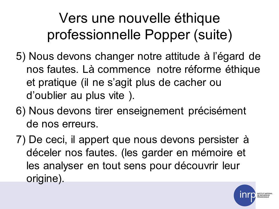Vers une nouvelle éthique professionnelle Popper (suite) 5) Nous devons changer notre attitude à légard de nos fautes.