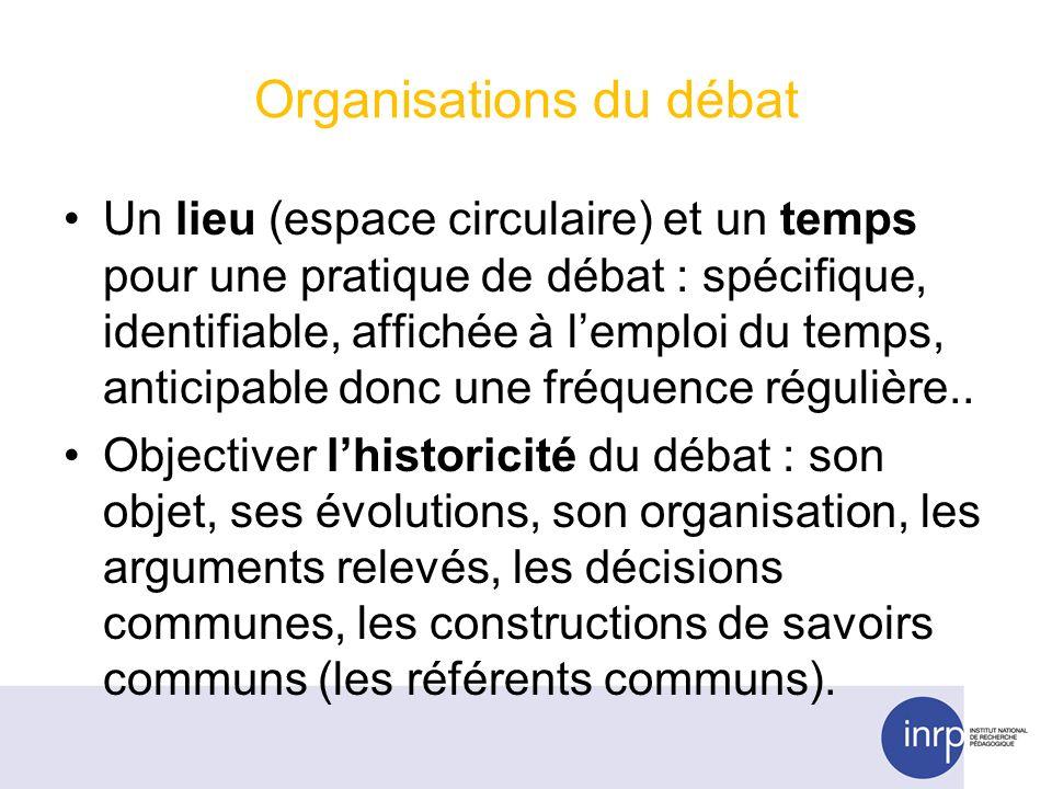 Organisations du débat Un lieu (espace circulaire) et un temps pour une pratique de débat : spécifique, identifiable, affichée à lemploi du temps, anticipable donc une fréquence régulière..