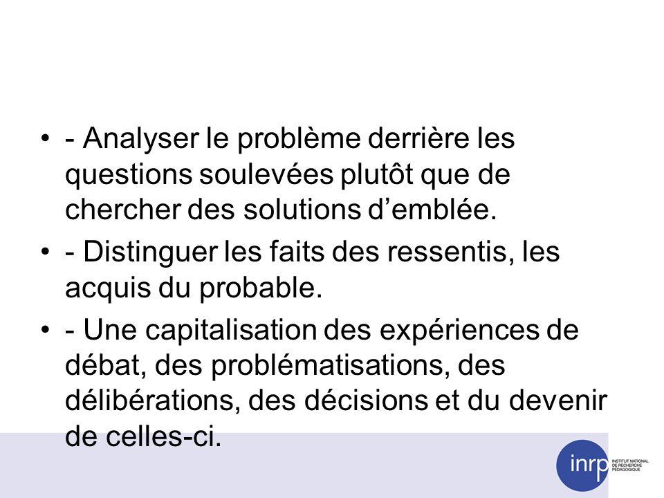 - Analyser le problème derrière les questions soulevées plutôt que de chercher des solutions demblée. - Distinguer les faits des ressentis, les acquis