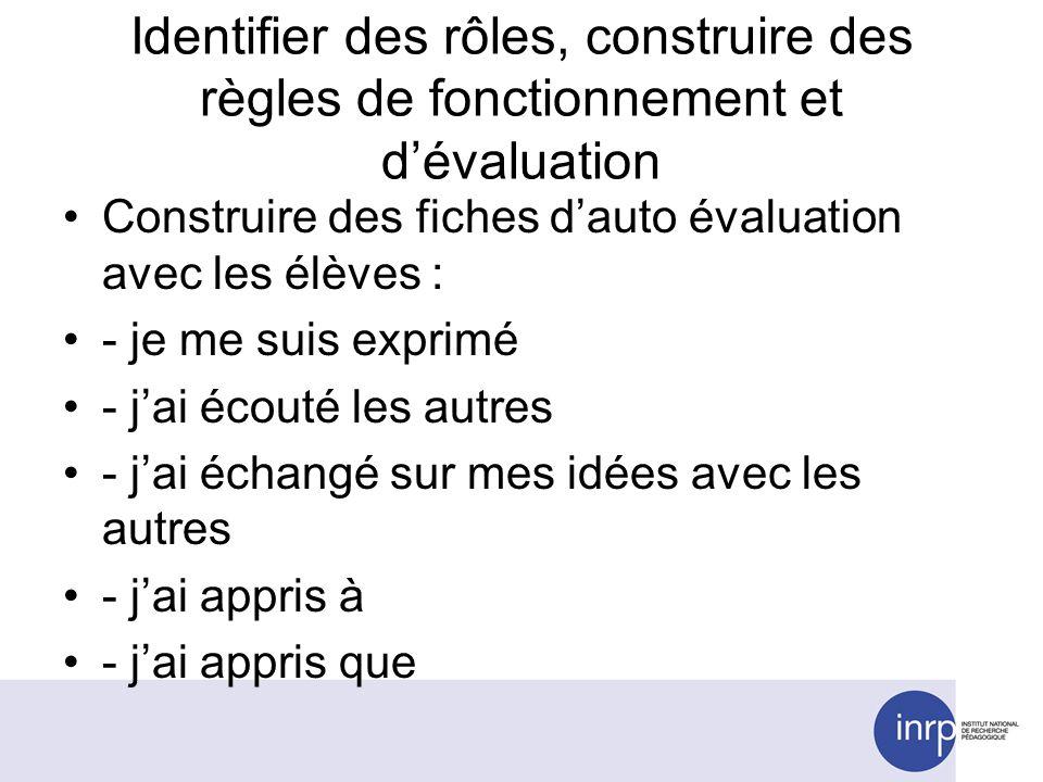 Identifier des rôles, construire des règles de fonctionnement et dévaluation Construire des fiches dauto évaluation avec les élèves : - je me suis exp