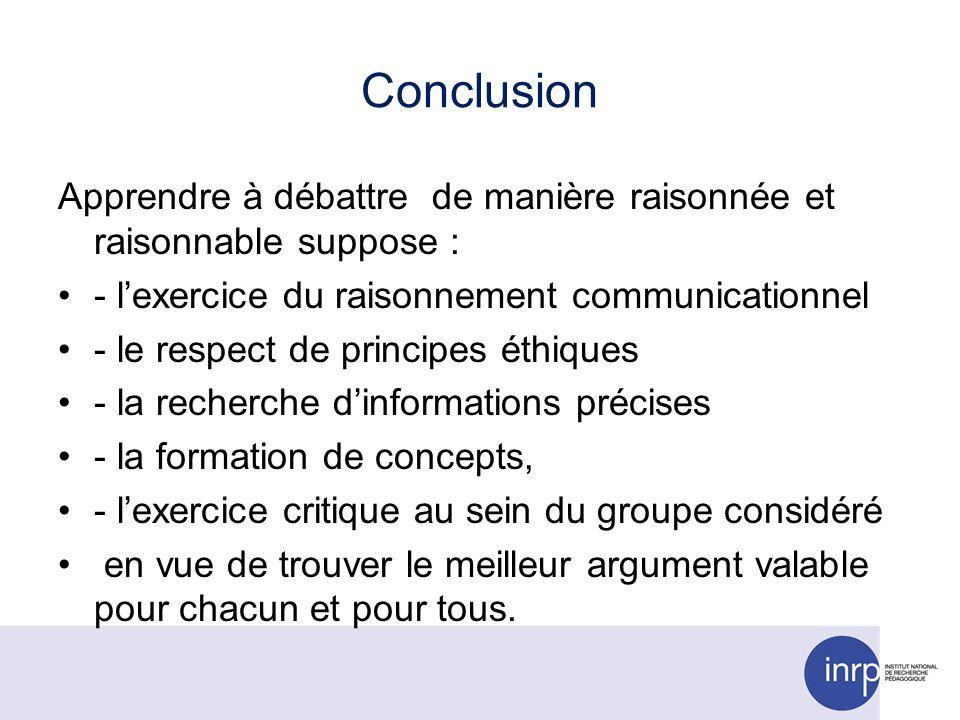 Conclusion Apprendre à débattre de manière raisonnée et raisonnable suppose : - lexercice du raisonnement communicationnel - le respect de principes é