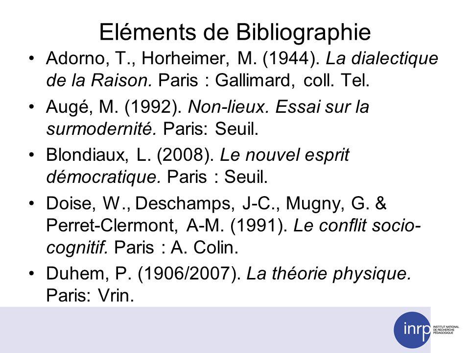 Eléments de Bibliographie Adorno, T., Horheimer, M. (1944). La dialectique de la Raison. Paris : Gallimard, coll. Tel. Augé, M. (1992). Non-lieux. Ess