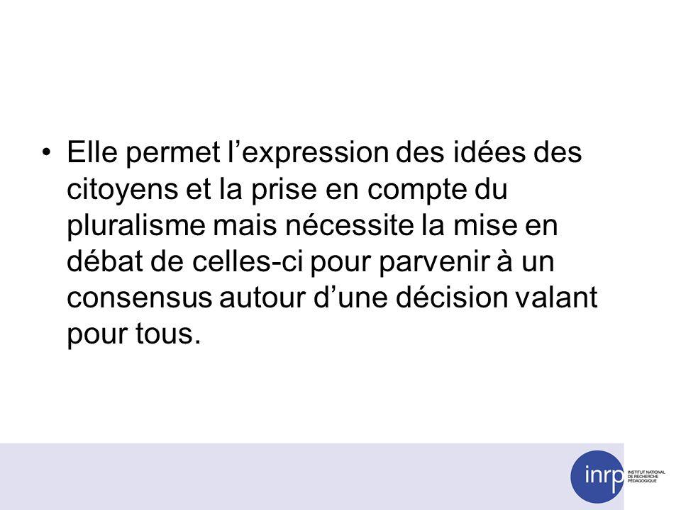 Elle permet lexpression des idées des citoyens et la prise en compte du pluralisme mais nécessite la mise en débat de celles-ci pour parvenir à un consensus autour dune décision valant pour tous.