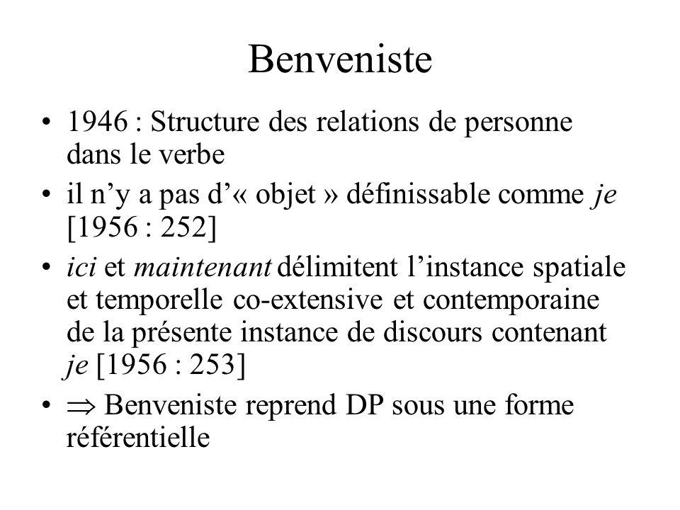 Damourette et Pichon, 1936 §1604 Les faits linguistiques nous montrent : 1° dune part que lallocentre ne peut être conçu comme tel quen tant préciséme