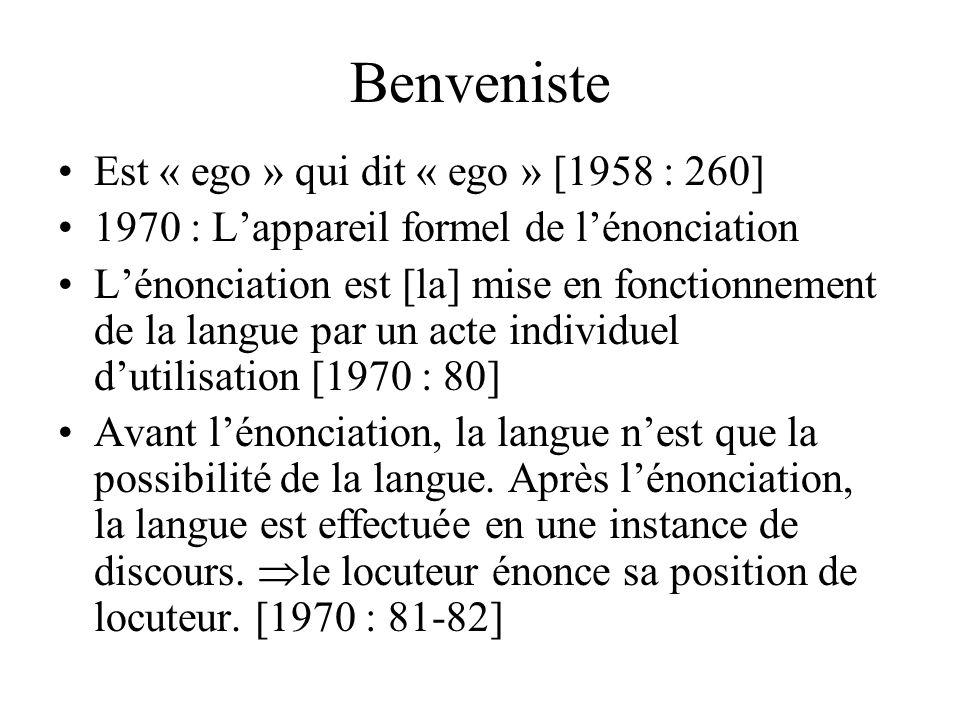 Benveniste 1946 : Structure des relations de personne dans le verbe il ny a pas d« objet » définissable comme je [1956 : 252] ici et maintenant délimi